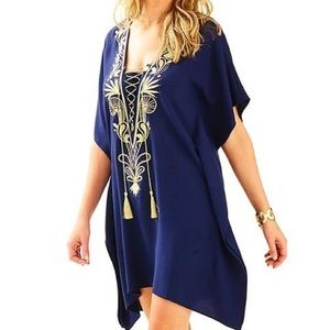 Lilly Pulitzer Chai Caftan Blue Gold Embroidered